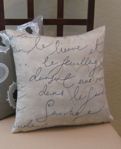 Throw Pillows With French Script : French Script Handwriting Parchment Throw Pillow Cover