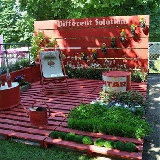 Pallet deck garden for the home pinterest for Garden decking from pallets