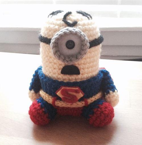 Free Crochet Pattern For Minion Toy : Superman Minion PDF Pattern Crochet for Amigurumi Doll Plush