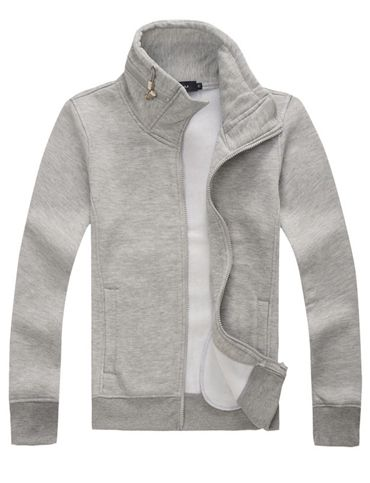 Concise Style Zip Trim Stand Collar Hoodie for Men, Shop online for