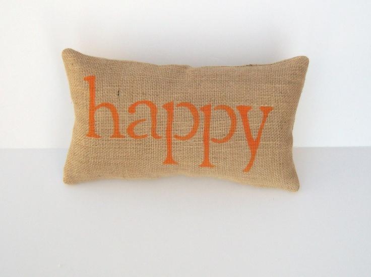 Decorative Throw Pillows With Words : orange pillow, decorative burlap happy pillow, word pillow, home deco?