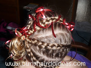Curly hairdo ideas a christmas braids and ribbon hairstyle for kids