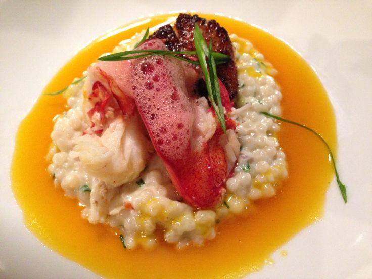 Lobster and seared scallop over pearl cous cous at Policy Restaurant ...
