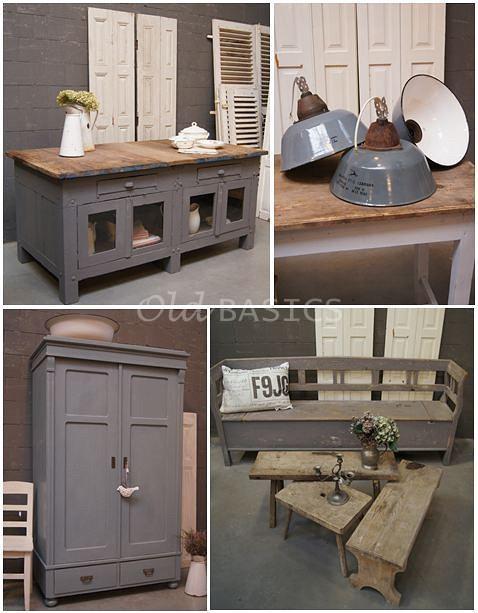 Keuken Grijs Blauw : Stoer grijs-blauw gecombineerd met oud hout ! Prachtige combinatie van
