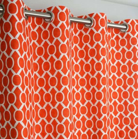 Pair of Grommet Top Curtains in Tangelo Orange Coral and White Sydney ...