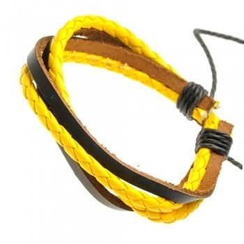 Brown and Yellow Braided Leather Bracelet