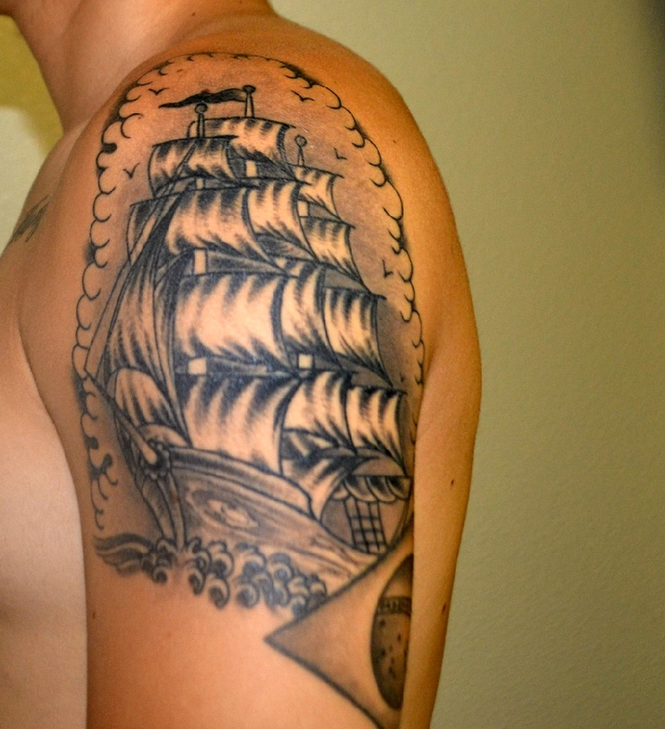 Ship done by chris at full circle tattoo in San Diego, CA