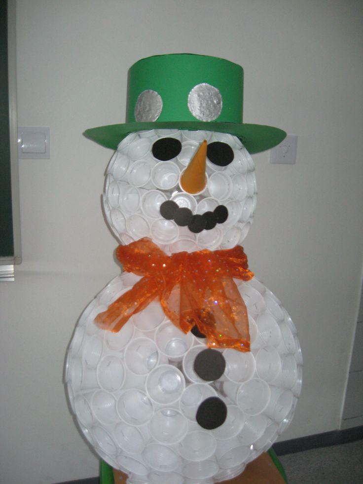 Plastic cup snowman crafts pinterest for Cup snowman