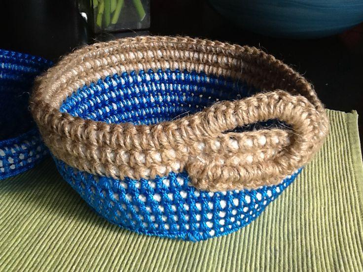 Crochet Rope Basket : Crochet rope basket liked it, tried it Pinterest