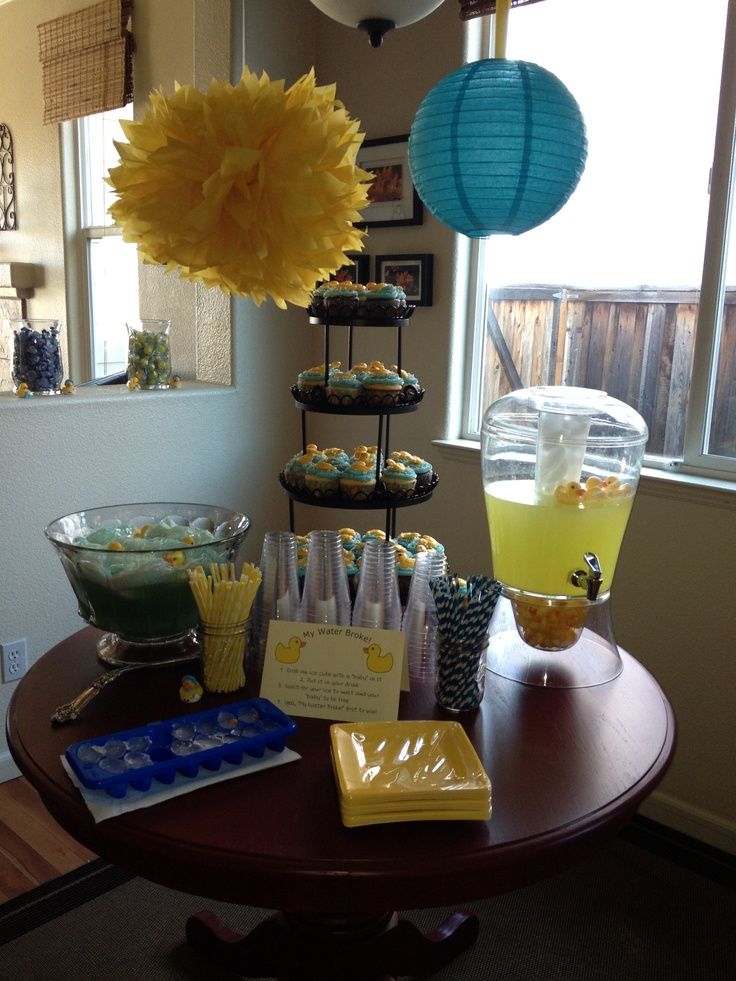 the drink table w my water broke game rubber duck theme baby shower