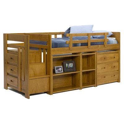 Twin low loft bed with storage for Boys twin bed with storage