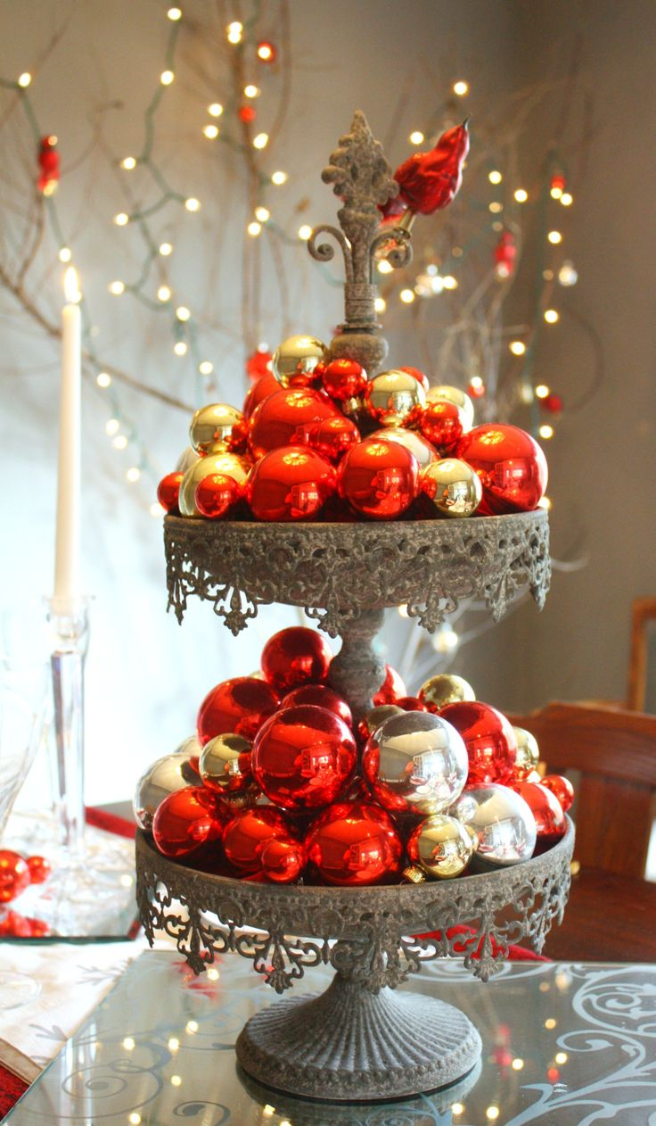 red & silver tiered-centerpiece  Christmas  Pinterest