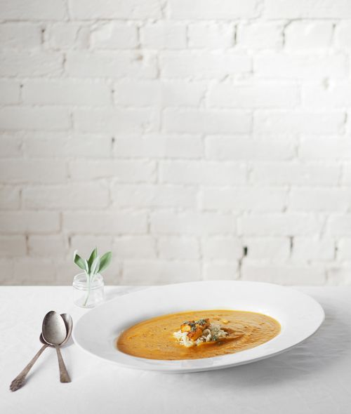 Butternut Squash Soup with Sage + Orzo...Simple and fabulous! Love the ...