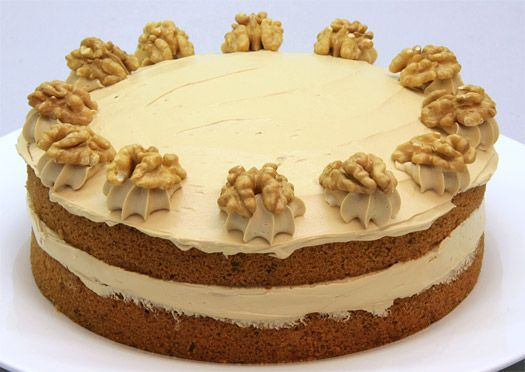 Coffee and Walnut cake. This is about as pretty as it ever looks but ...