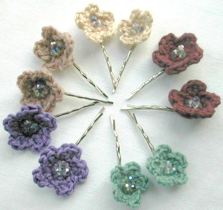 Crochet Hair Pins : Crocheted flower hair pins HAIR CLIPS FOR GIRLS Pinterest