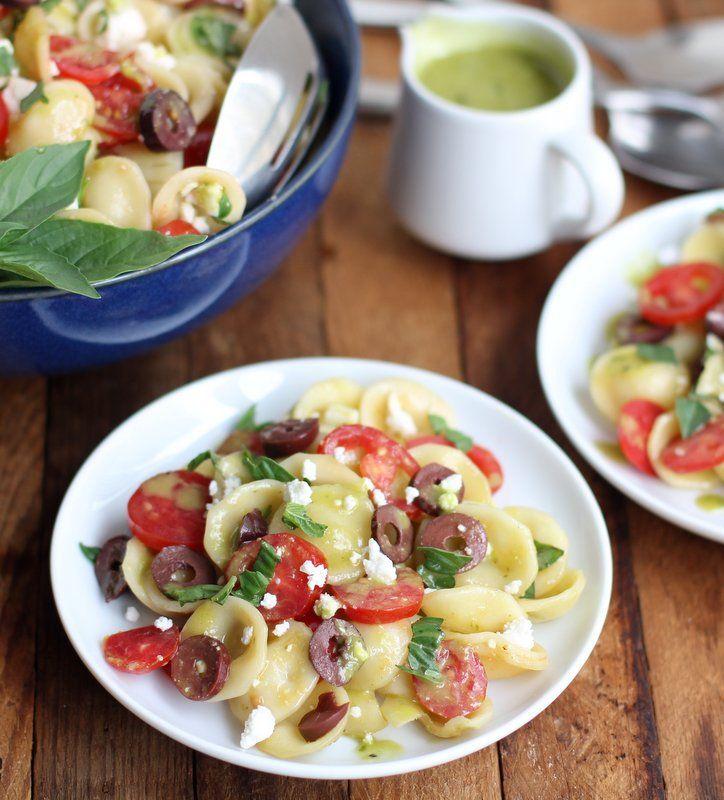 Pasta Salad with Feta, Tomato, Kalamata Olives and Sweet Basil Vinaig ...