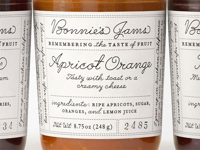 Bonnie's Jams label redesign by Louise Fili inspired by 1930s handwriting samples.