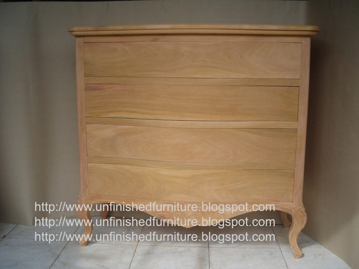 Unfinished mahogany Furniture  Isabelina Dresser 4 Drawer  made of    Unfinished Mahogany