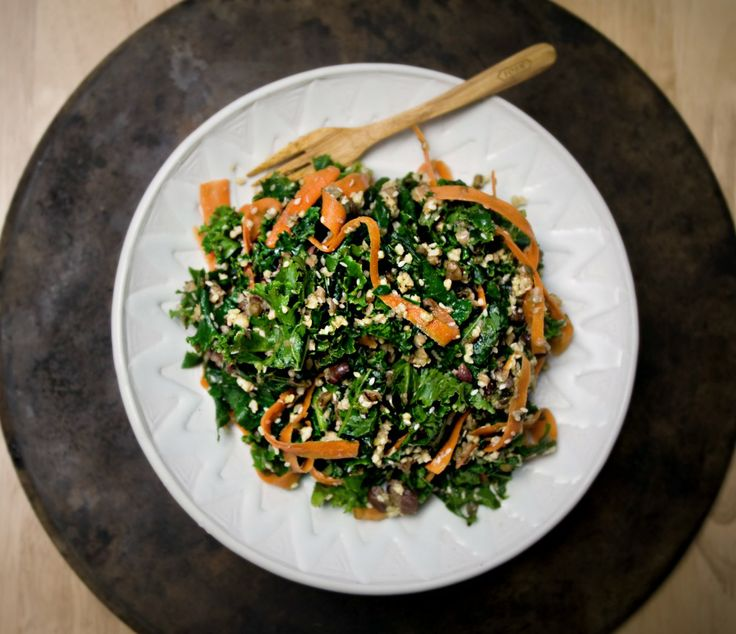 Produce On Parade - Sesame Kale Salad with Millet and Sprouted Beans