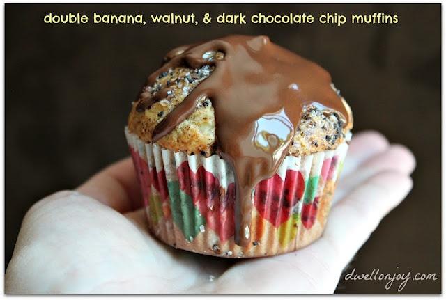 Dwell on Joy: Double Banana, Walnut, & Dark Chocolate Chip Muffins