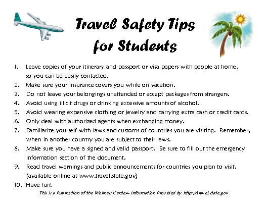 travel student tips
