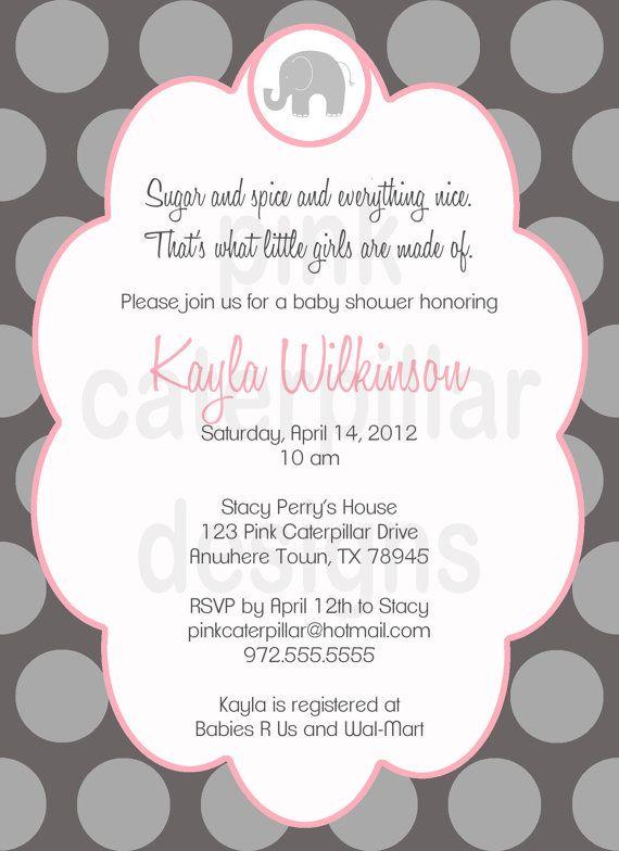 pink and grey elephant baby shower invitation diy printable custo