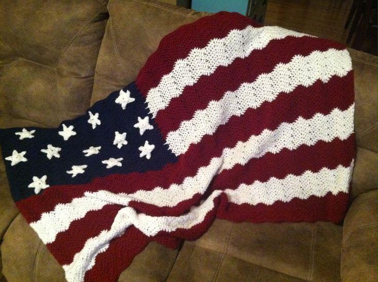 Free Crochet Pattern Of American Flag : American flag crochet blanket crochet me. Pinterest