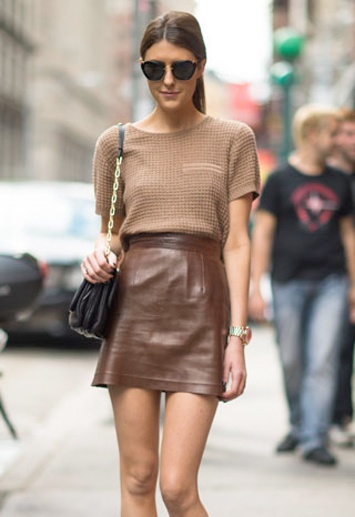 Brown on Brown Leather skirt over short sleeve top