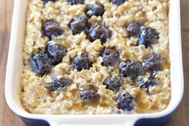 Blackberry Baked Oatmeal with Caramel Sauce Recipe