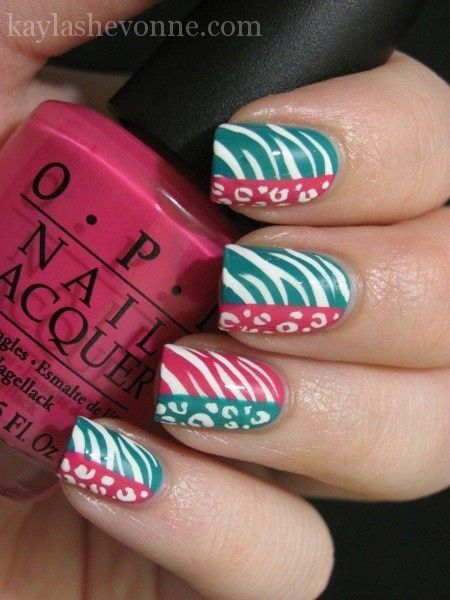 Zebra/Leopard print nails.