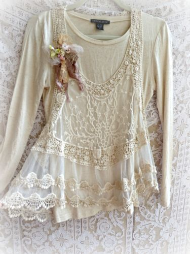 Vintage Pearl Style Lace Layer Top In Magnolia Natural Color Romantic