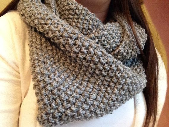 Hand Knit Grey Tweed Chunky Seed Stitch Scarf Inspired by ...
