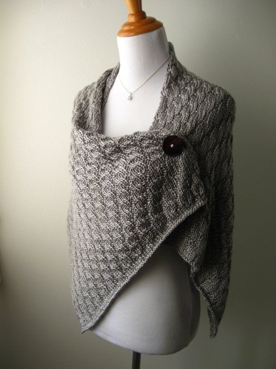 Knit shoulder wrap, button closure Yarn stuff! Pinterest