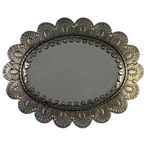 Aged tin oval petal mirror barn conversion rustic chalet pinterest