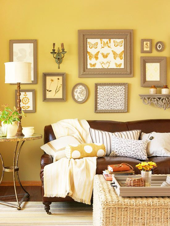 wall grouping painting all the frames accent color