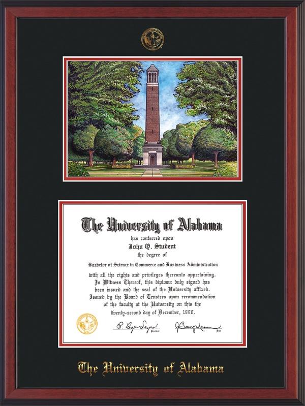 University of Alabama - Tuscaloosa - Diploma Frame : With hardwood ...