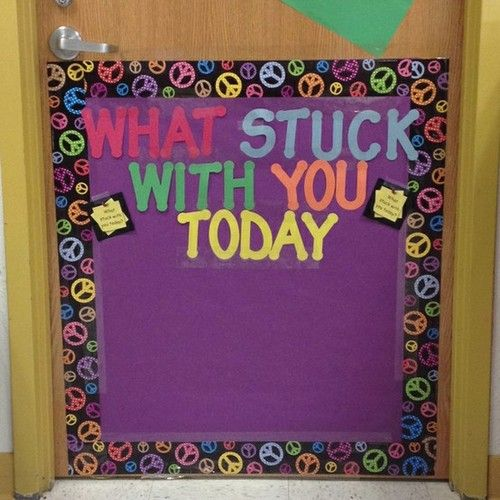 The students can write something they learned on a post it note, and stick it to the door as they leave. Cute idea for journaling, too. Weekly?