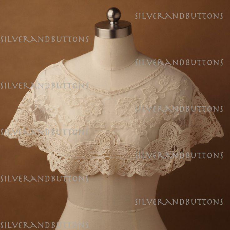 Victorian Vintage Style Women Ivory Cream Crochet Shawl Wrap Cape ...