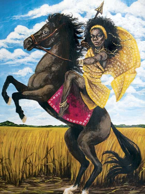 Yennenga,  A legendary princess, considered the mother of the Mossi people of Burkina Faso. Skilled with javelins, spears and bows, she was an excellent horsewoman and commanded her own battalion.Yennenga was such an important fighter that her father refused to allow her to marry. To express her unhappiness she planted a field of wheat. When the crop grew, she let it rot. She explained that that was how she felt, being unable to marry.