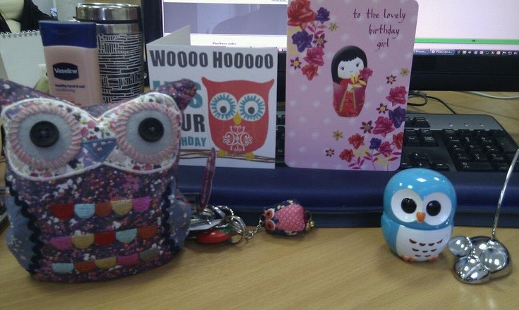 All the owls I got for my birthday. (From Fenwicks.)
