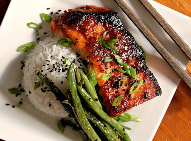 Broiled Salmon with Miso Glaze, Sesame Green Beans and Jasmine Rice ...