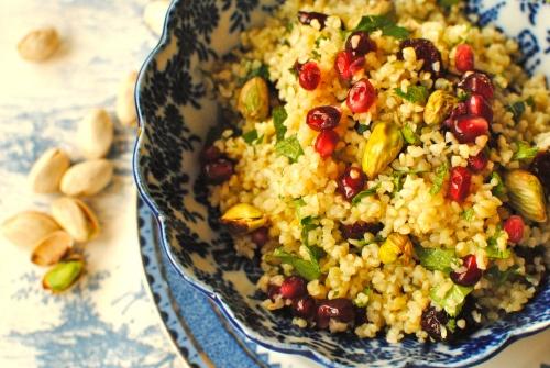 Pomegranate, Pistachio and Sour Cherry Bulgur Wheat Salad (or Couscous ...
