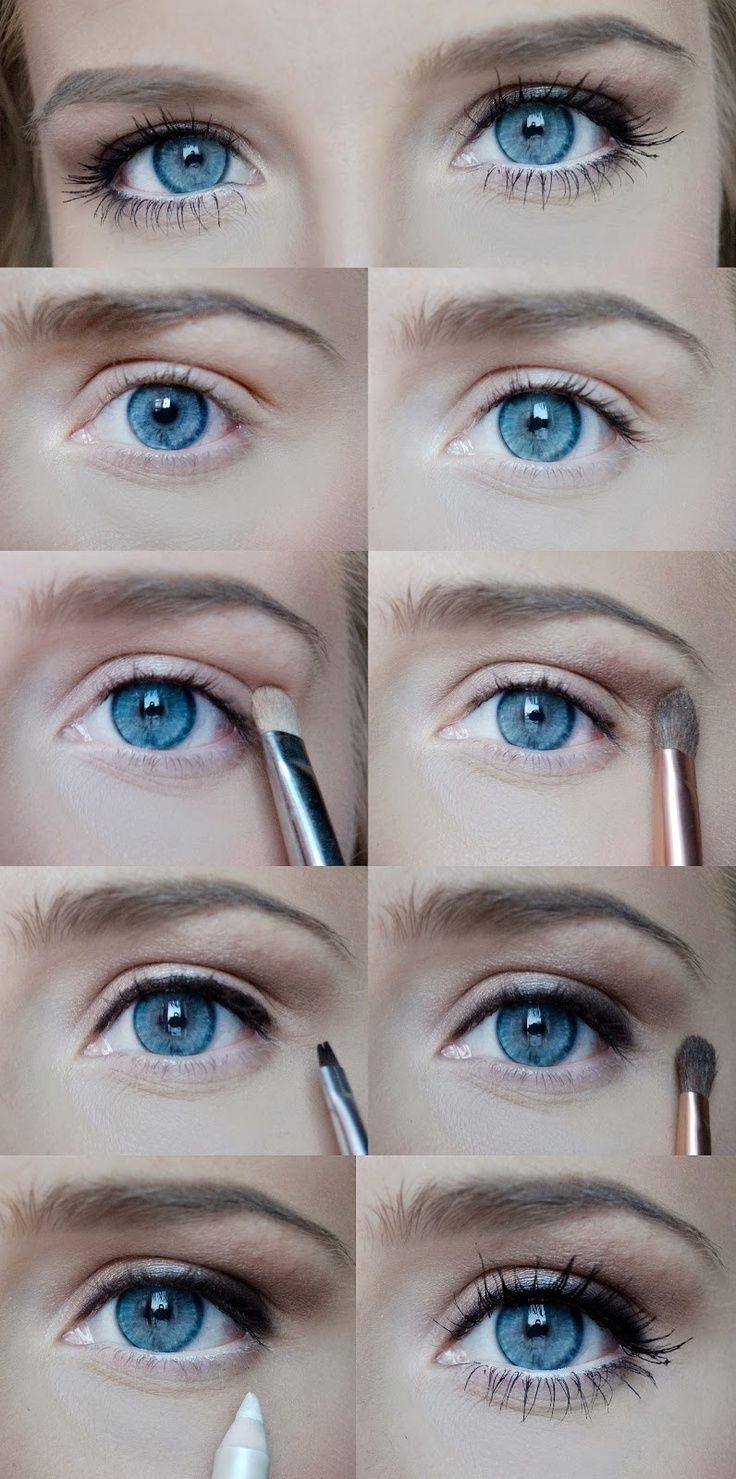 Повседневный макияж для серо-голубых глаз пошагово фото