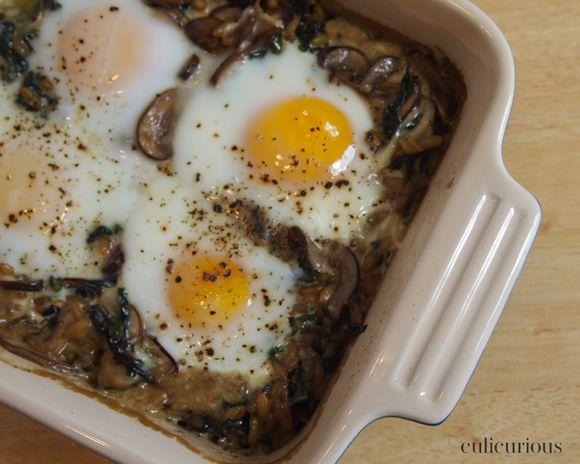 Creamy Swiss Chard, Kamut and Egg Bake Casserole Recipe