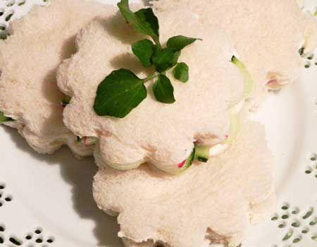 Cucumber and Radish Tea Sandwiches | food ideas | Pinterest