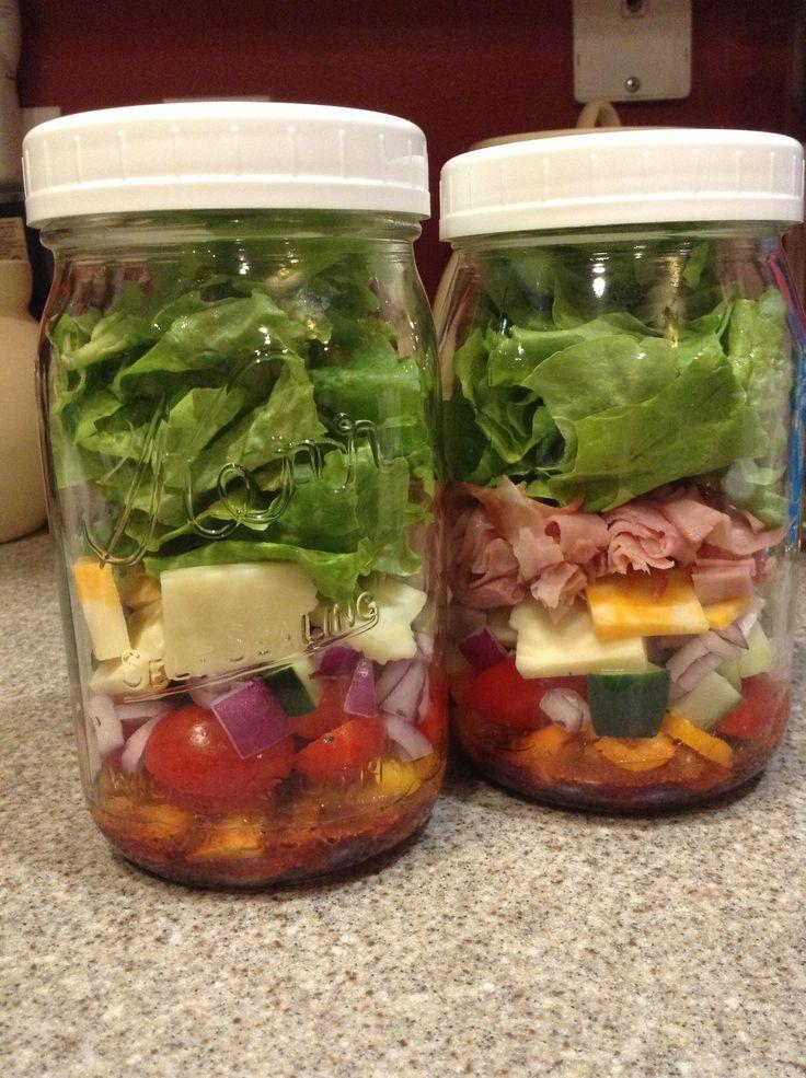 Mason jar salad by Lamoureux Landing Raspberry vinaigrette, diced bell ...