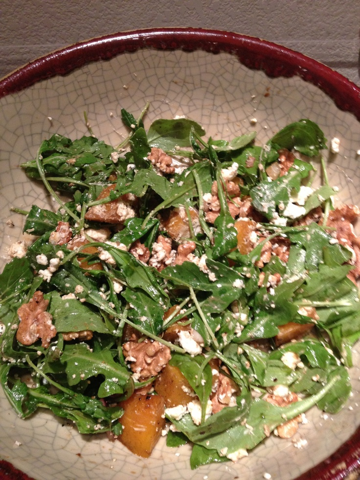Roasted golden beet salad with spinach, walnut, blue cheese and a ...