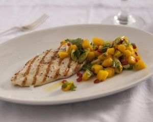 Pan-fried chicken with mango salsa recipe