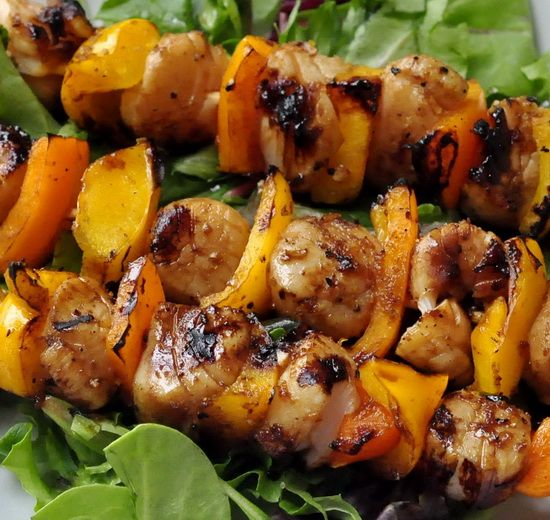 ... ginger and soy marinade complimenting sweet grilled scallops