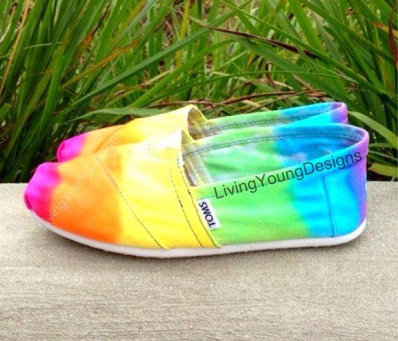 RAINBOW TOMS Tie Dye Custom Toms